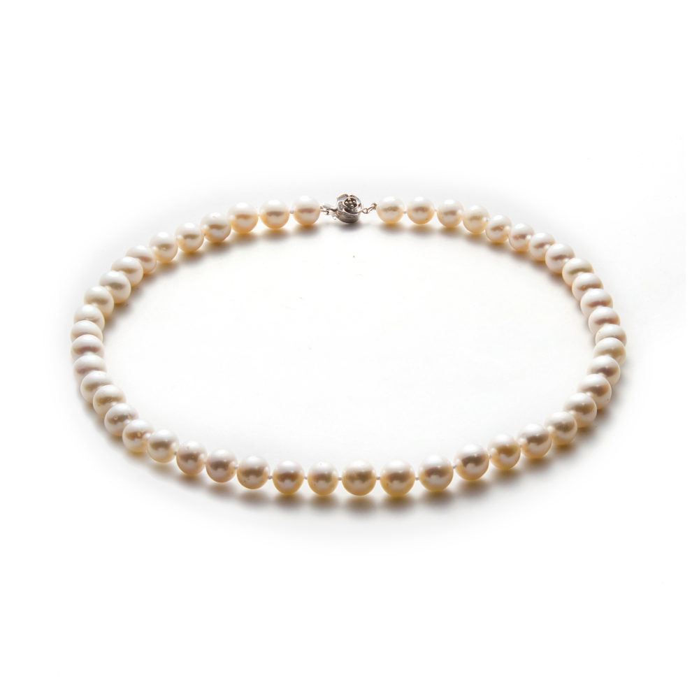 White Freshwater Pearl Necklace 9-10mm By Honey Papaya Jewellery