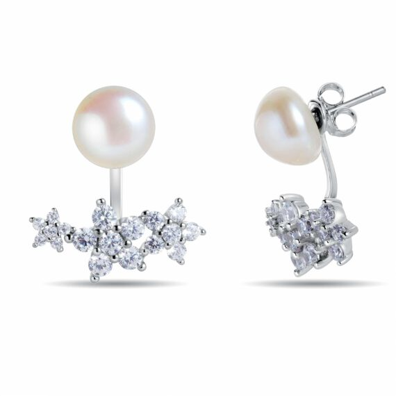 Forget-Me-Not Sterling Silver Pearl Earrings With Jacket Fitted With Freshwater Pearls By Honey Papaya Jewellery main image