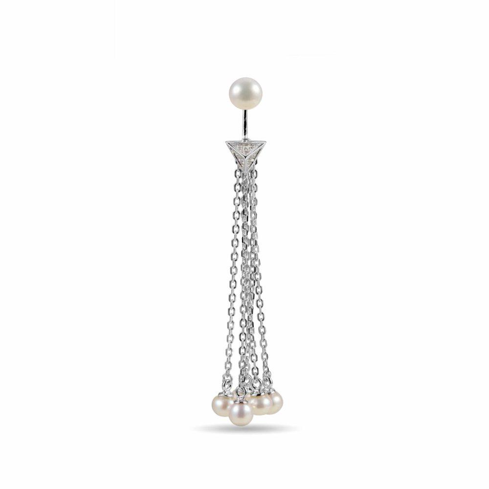 Sterling Silver Tassel Pearl Drop Earrings Fitted With Freshwater Pearls By Honey Papaya Jewellery