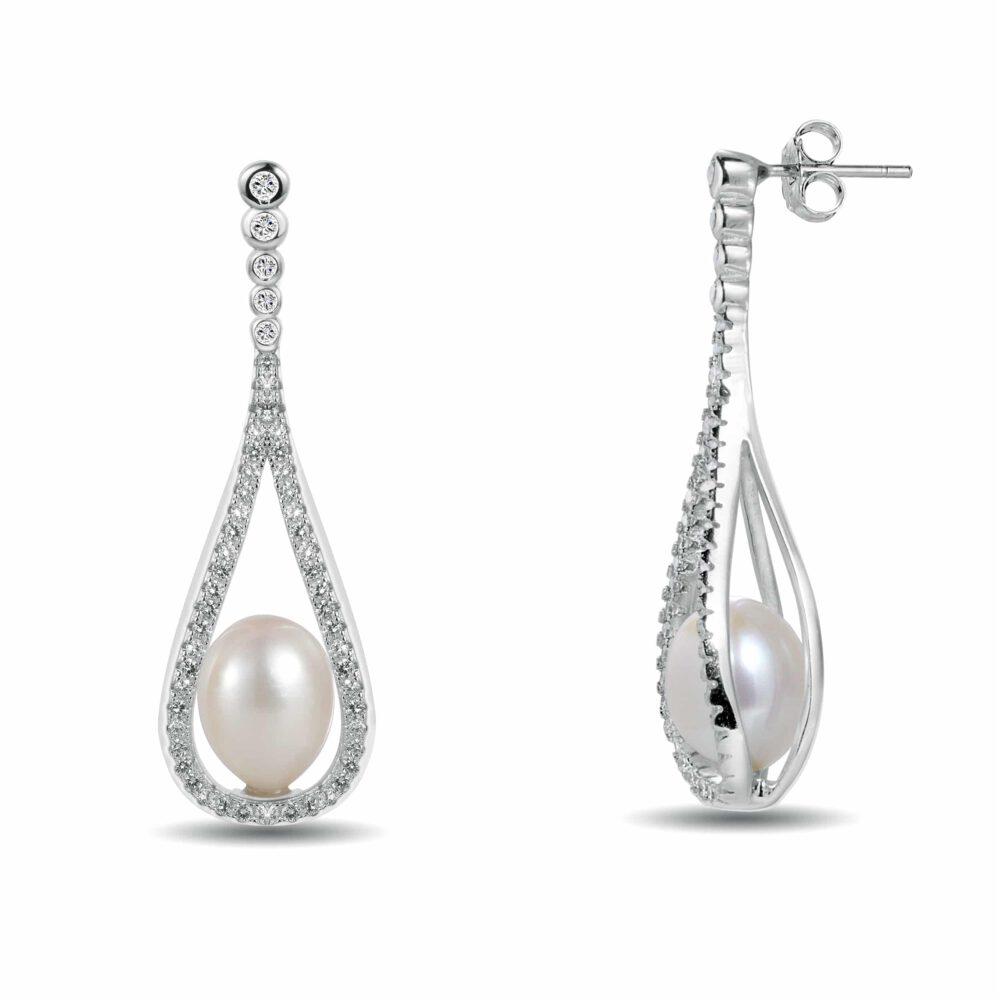 Teardrop Sterling Silver Pearl Drop Earrings Fitted With Freshwater Pearls By Honey Papaya Jewellery main image