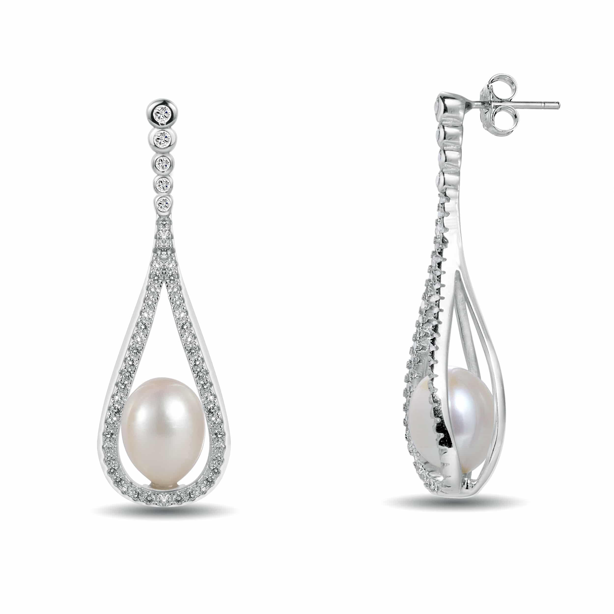 White Freshwater Pearl Teardrop Earrings In Sterling Silver