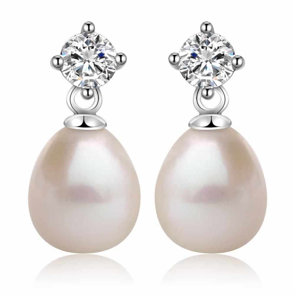 Freshwater Drop Pearl Earrings in Sterling Silver