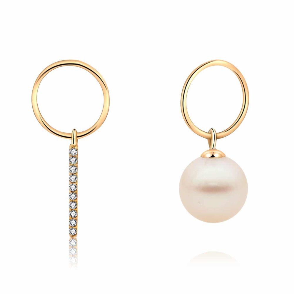 Freshwater Pearl Asymmetric Drop Earrings in Yellow Gold