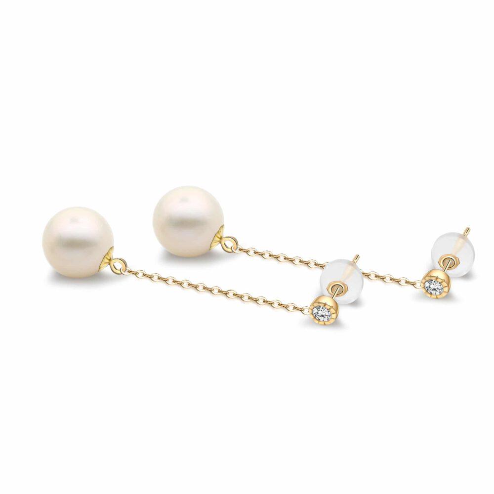 Freshwater Pearl Chain Drop Earrings in Yellow Gold