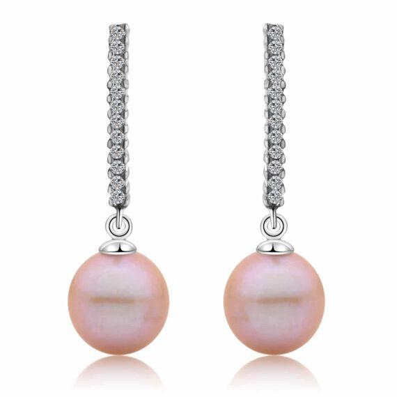 Lavender Freshwater Pearl Bar Earrings in Sterling Silver