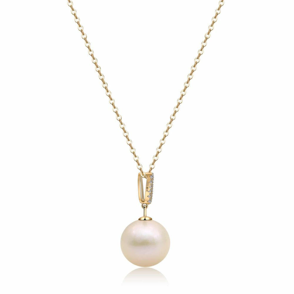 White Freshwater Pearl Drop Pendant in Yellow Gold